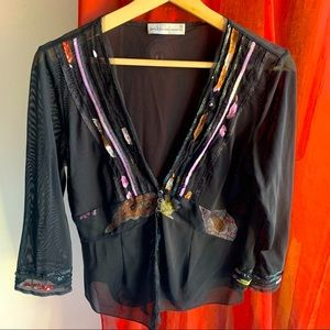 Anthea Crawford sheer black sequin top